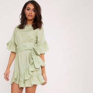 PrettyLittleThing Sage Ruffle Frill Dress